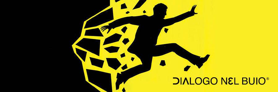Sagoma di uomo che sfonda con un salto un muro su sfondo giallo